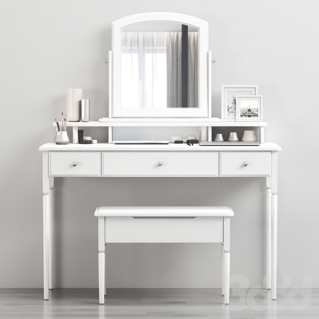 Ikea TYSSEDAL Dressing table with mirror and storage stool, white