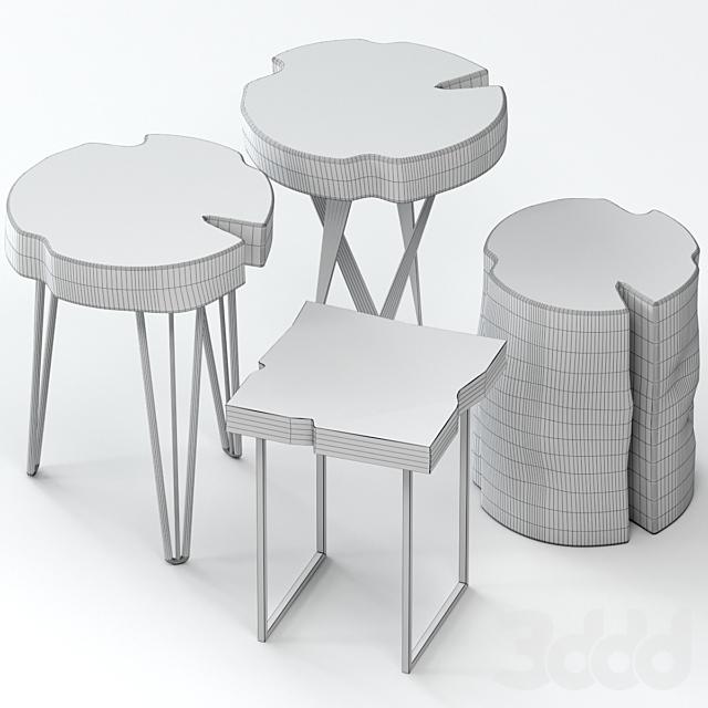 Набор деревянных столиков из слэба и пня