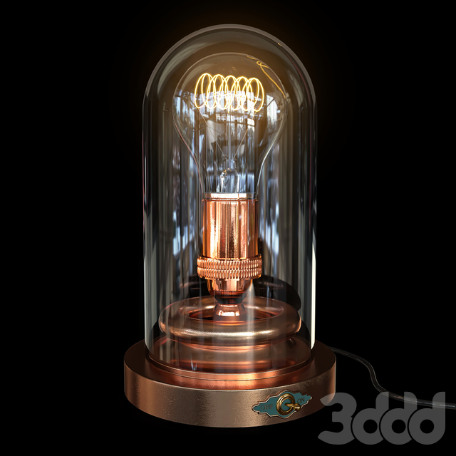 Steampunk Glass Case - Edison Lamp
