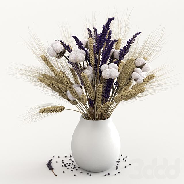 Сухоцветы хлопка, ржи и лаванды