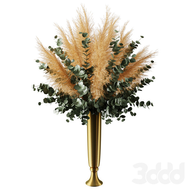bouquet of pampas grass and olive leaves | Букет из пампасной травы и веток оливы