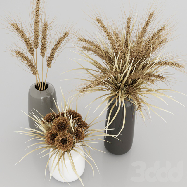 Bouquets with dry plants, spikelets, grass and chrysanthemums