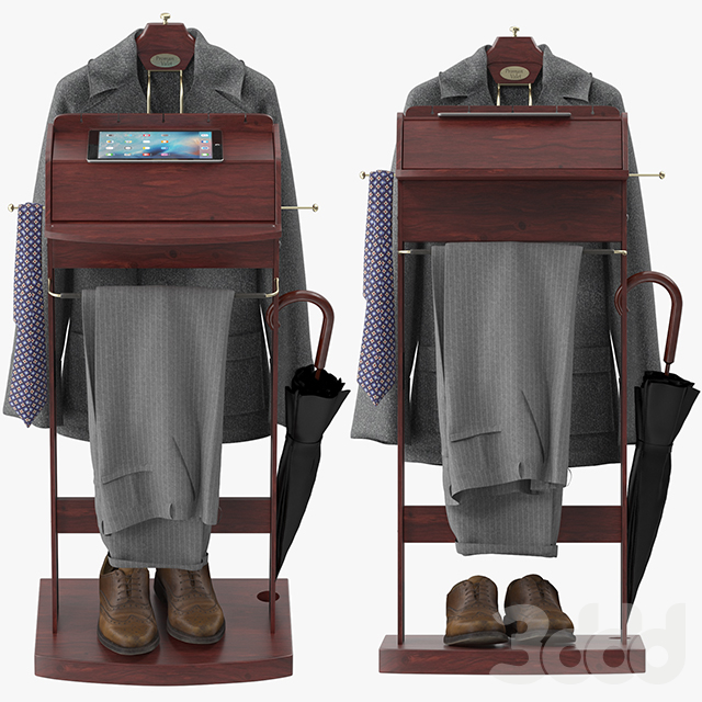Mens Suit Brown Wooden Valet Stand