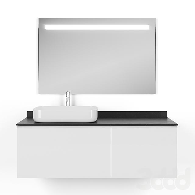 Тумба с раковиной Comforty Милан 120 + Зеркало Jacob Delafon EB1416