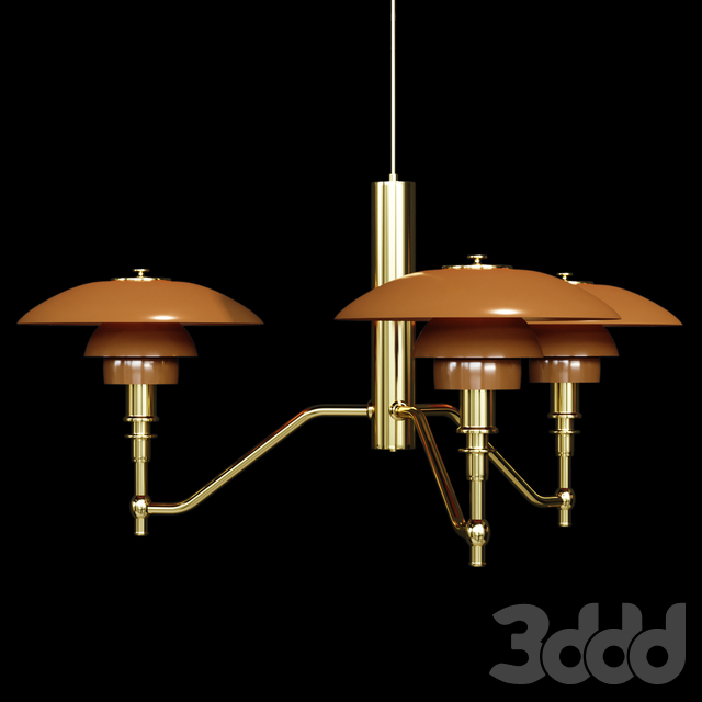 Люстра Louis Poulsen PH3/2 Academy Ceiling Lamp Gold Amber Glass