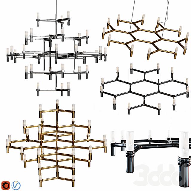 Equinox set chandeliers Gold, Black, Nickel