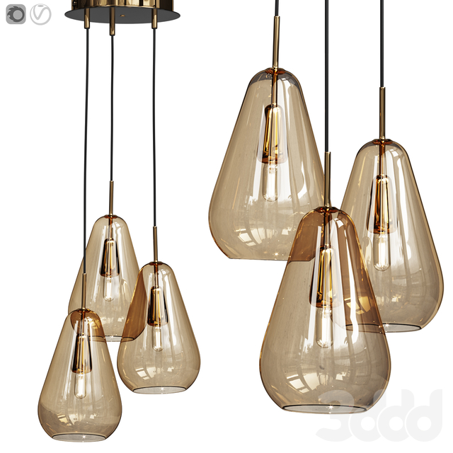 Nuura Anoli 3 pendant gold glass shade