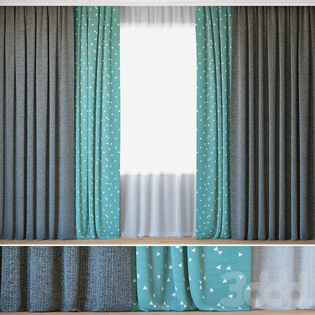 Curtains 25   Curtains with Tulle   Sunrough and Ottoman Triangles