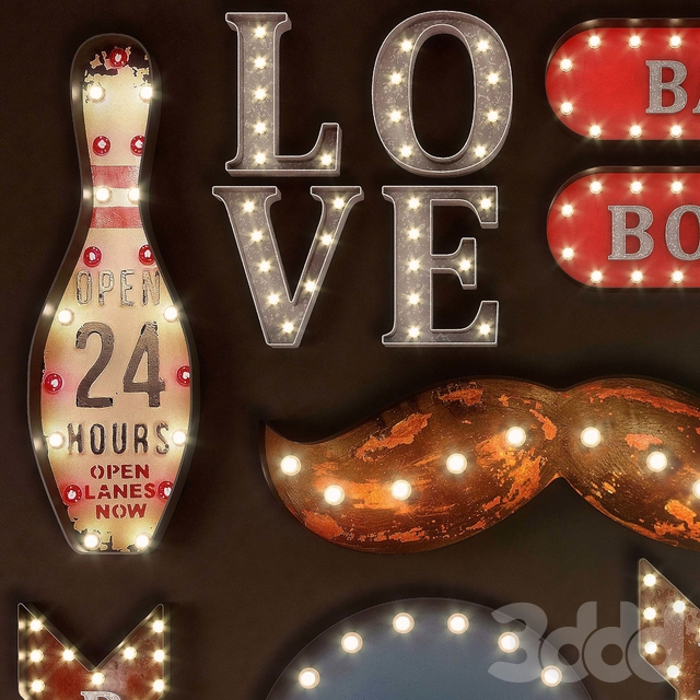 Lighted Metal sign. Set 18