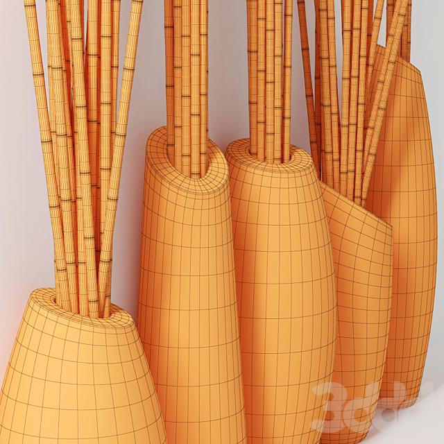 Vase slice branch bamboo / Ветки из бамбука в вазе