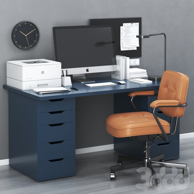 IKEA office workplace with ALEX table and ALEFJÄLL chair
