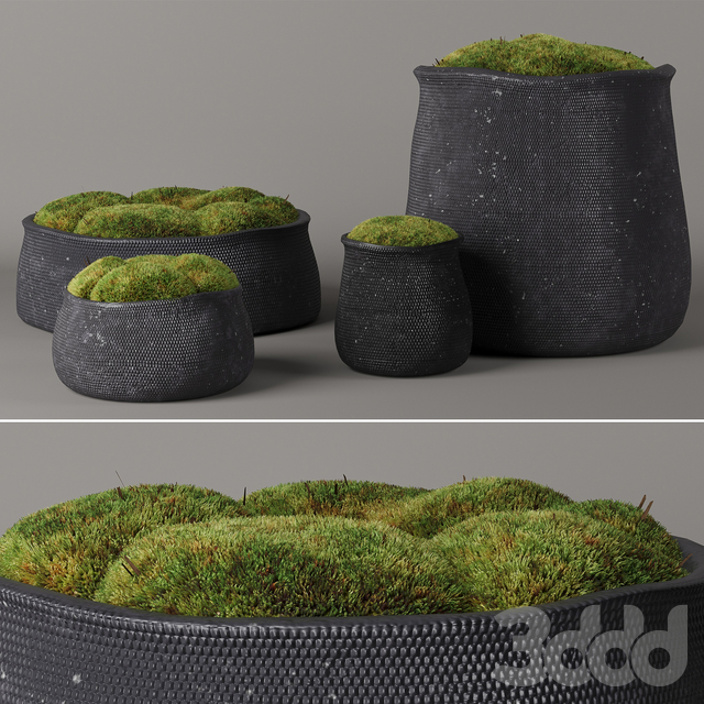 RH Crosshatch concrete vases