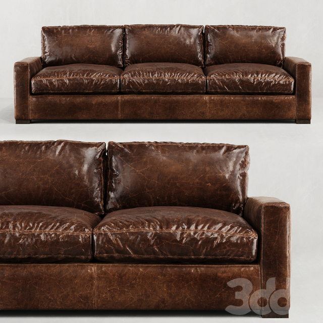 RH/ MAXWELL LEATHER THREE-SEAT-CUSHION SOFA