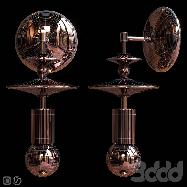 Бра Beaded Saucers Sconce Gray, Terracotta
