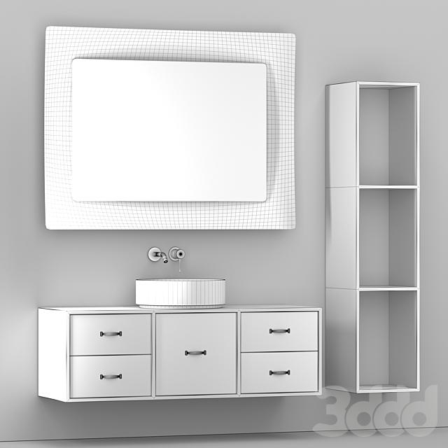 Мебель для ванной с зеркалом и умывальником