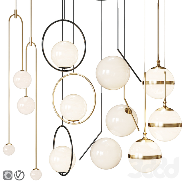 Four Pendant Lights scandinavian amazing set vol.21