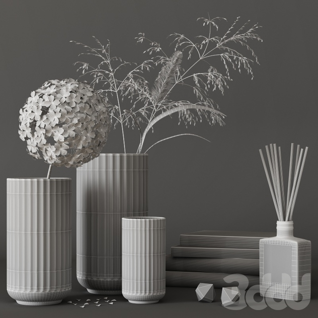 decorative set with hydrangea and field plants 08