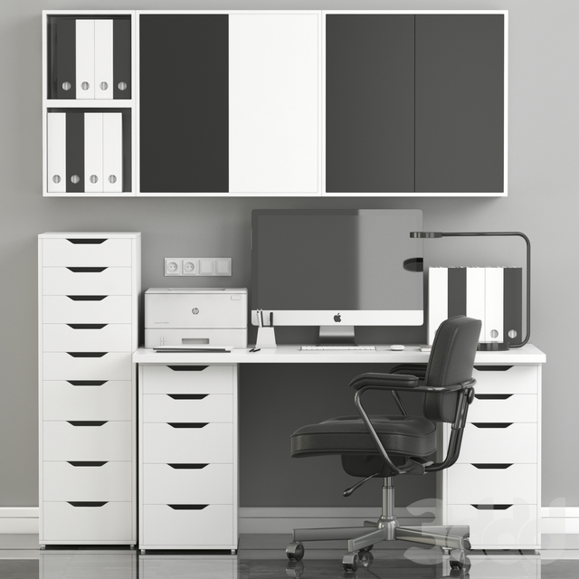 Ikea Office Workplace with Alex Table,Alefjäll Chair and Eket wall-mounted cabinet
