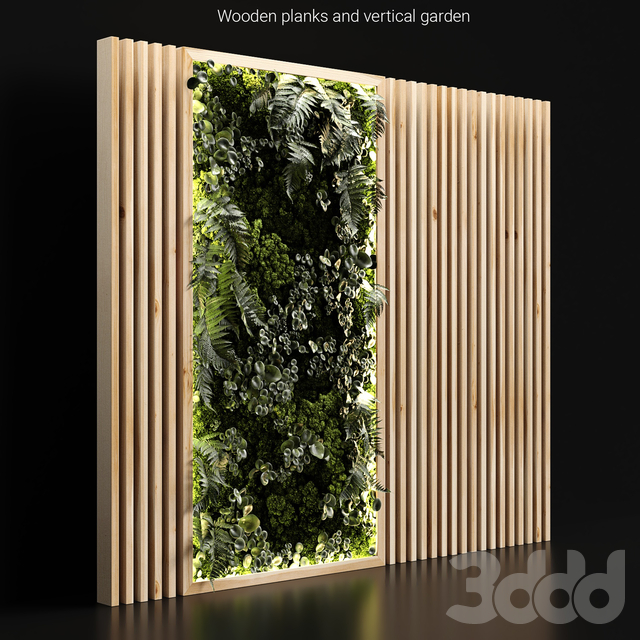 Wooden planks and vertical garden