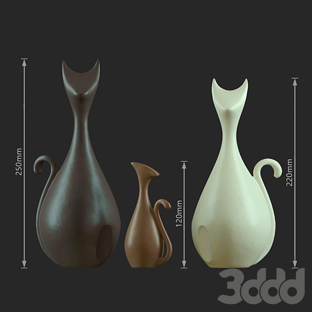 Декоративный керамика. Семейство кошек.