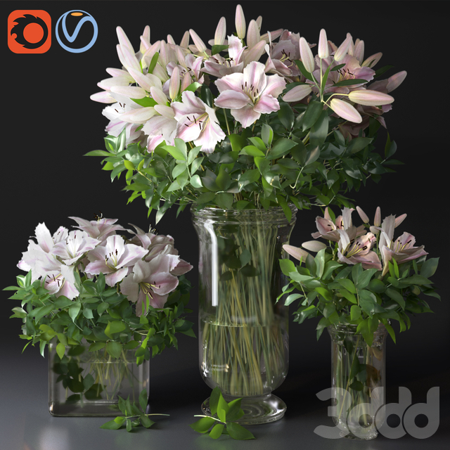 Pink Lily Bouquet Vases