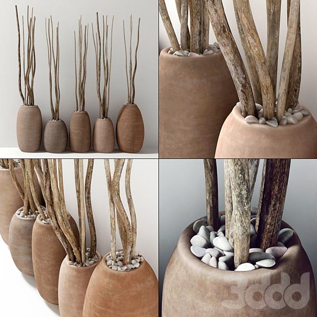 Сухие ветки в глиняных горшках / Dry branch vase