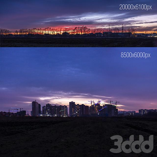 Вид на вечерний город. 2 панорамы