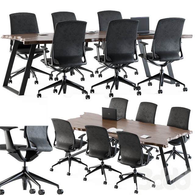 Meeting Table with offic Chair and Nature Wood