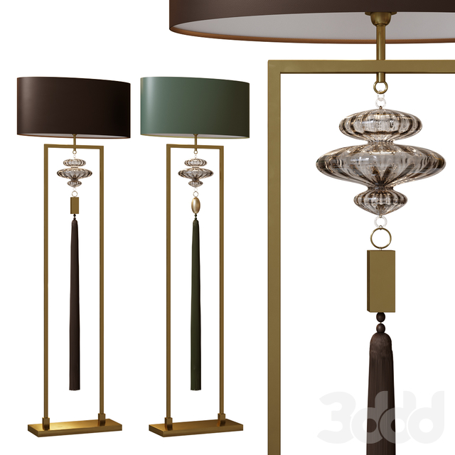 CONSTANCE antique brass and black floor lamp