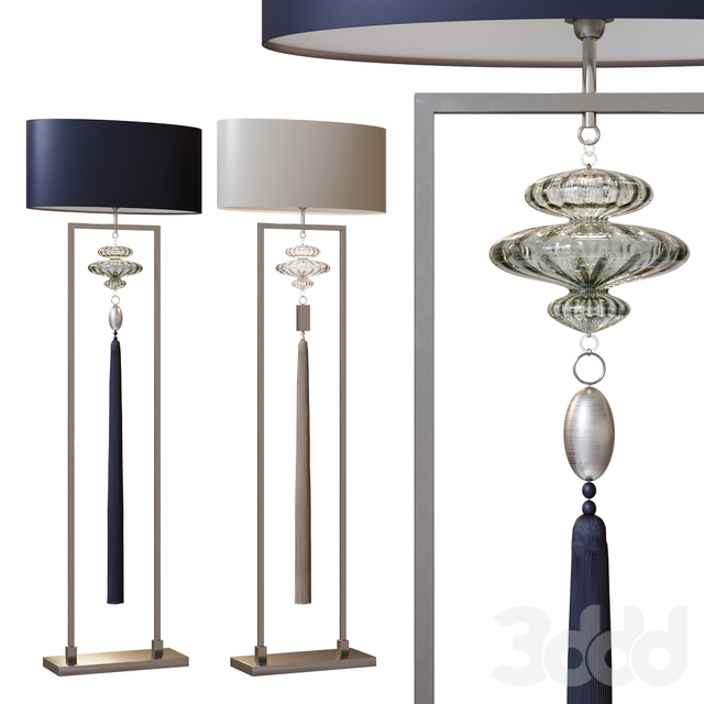 CONSTANCE nickel and sea jade & clear  floor lamp