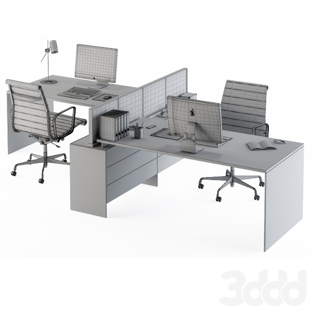 Office Set White and Cream