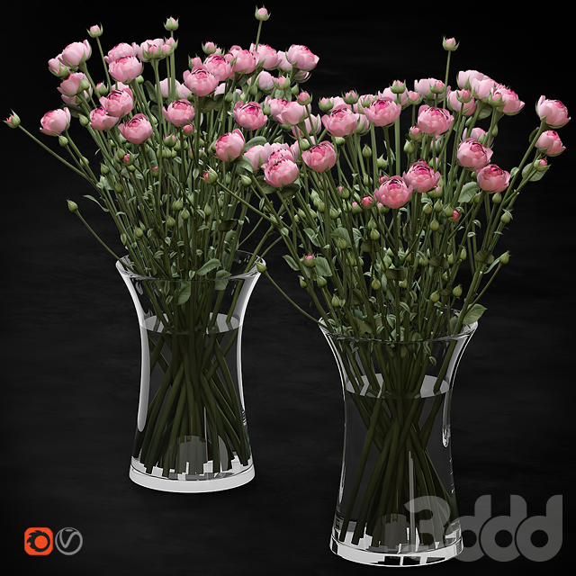 Bouquet of small pink shrub roses in a glass vase with water