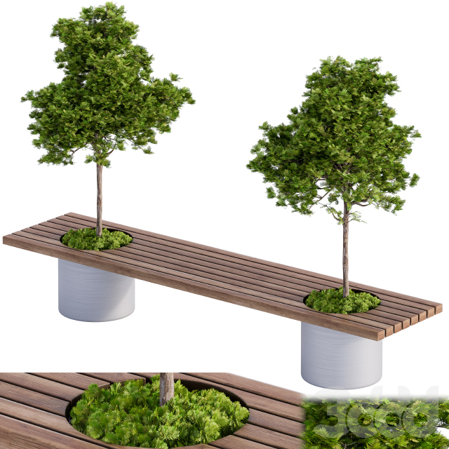 Landscape Furniture-bench with Plants