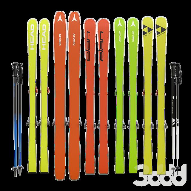 Горные лыжи и палки