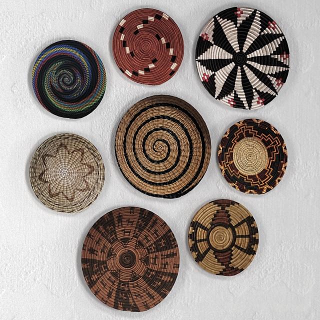 Плетёные африканские настенные корзины