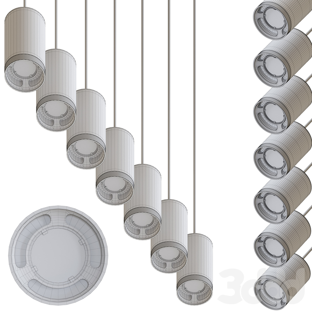 Olev Beam Stick 80 Pendant Lamp by Marc Sadler Pack 3