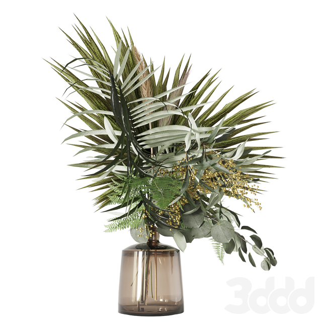 Green bouquet with palms