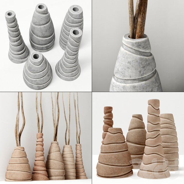 Ветки в фигурных вазах