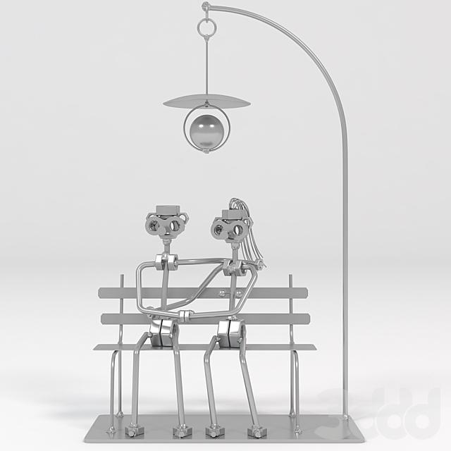 Love Couple On A Bench (Handmade Metal Figurine)