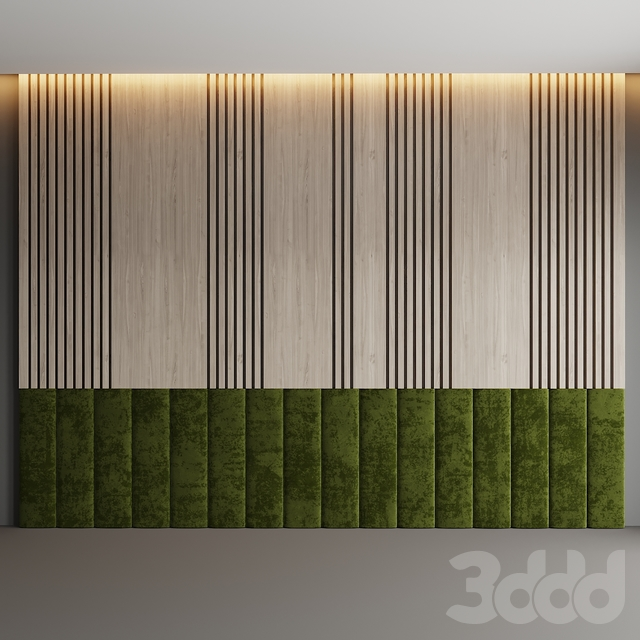 Декоративная стена из дерева и мягких панелей