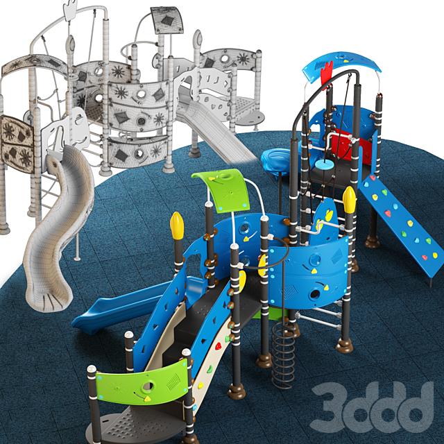 Kids playground equipment with slide climbing 09