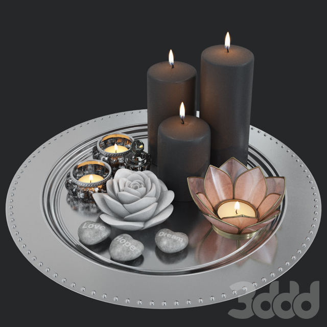 Dec Set Candles Tray and Glasses