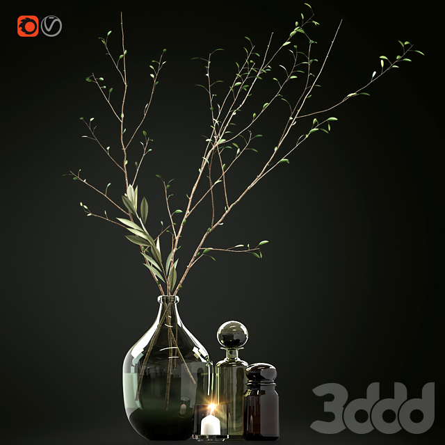 Decorative set with branches and glass bottles