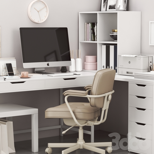 Ikea corner workplace with alex table and alejall chair.
