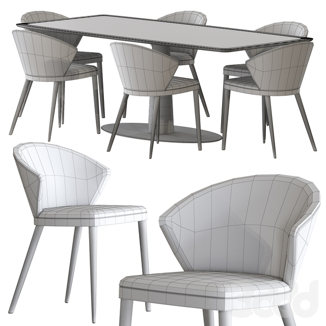 Oliver B. Diamante Table and Upholstered Chair Casa Collection