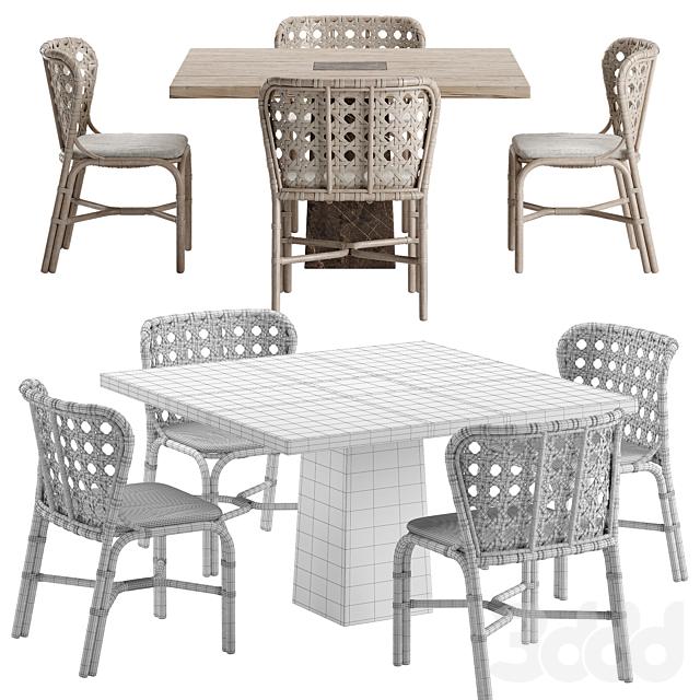 Mcguire Exalt chair Querini table set