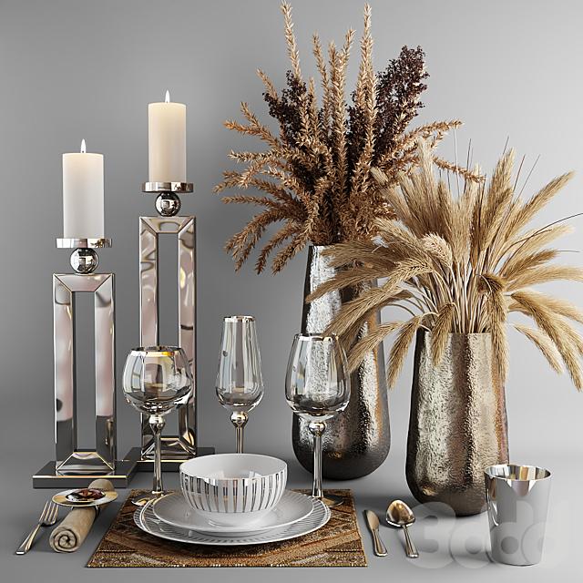 Декоративный набор с посудой и букетами из сухой травы