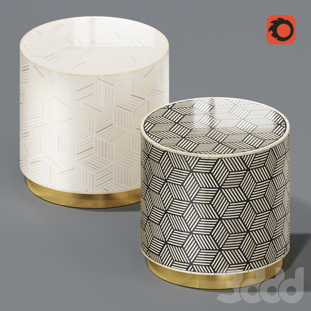 Anthropologie Targua Optical Inlay Tables Set