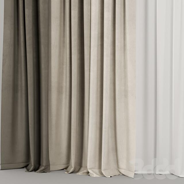 Коричневые шторы с тюлем