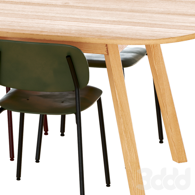 Hay triangle leg table with soft edge chairs